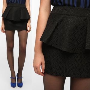 Urban Outfitters Jacquard Peplum Skirt in Black